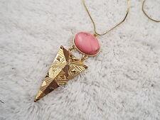 Goldtone Pink Cabochon Pendant Necklace (C61)
