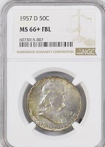 1957-D 50C Fl Franklin Half Dollar NGC MS66+FBL             6073015-007