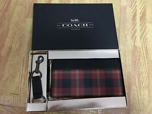 NWT Coach F55431 Men Accordion Plaid Zip Wallet Key Chain Gift Box - Black/Red