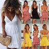 Women Strappy V Neck Lace Backless Mini Dress Summer Beach Party Tunic Sundress