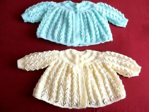 """TWO HAND KNITTED BABY MATINEE COATS   TO FIT 17"""" CHEST."""