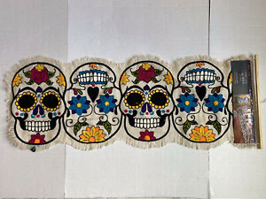 Cynthia Rowley Embroidered Sugar Skull Halloween Day of The Dead Table Runner