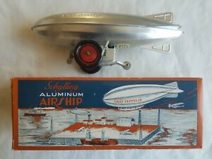 SCHYLLING COLLECTOR SERIES ALUMINUM AIRSHIP WIND-UP GRAF ZEPPELIN TOY W/ BOX HTF