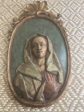 18th century religious Carved plaque wall hanging painted Female