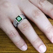 NEW Mens Ring with Green Emerald Gemstone in 925k SOLID Sterling Silver All Sz