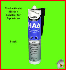 Silicone Sealant HA6 Marine Grade SAFE 4 FISH in Black Aquarium Aquaseal Bond It