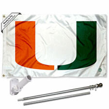 Miami Hurricanes White Flag Pole and Bracket Gift Package
