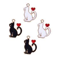 10Pcs/Set Enamel Alloy Cat Love Heart Charms Pendant Jewelry DIY Making Craft YN