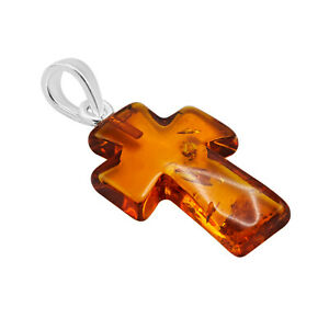 925 Solid Pure Sterling Silver Cognac Baltic Amber Small Lovely Cross Pendant