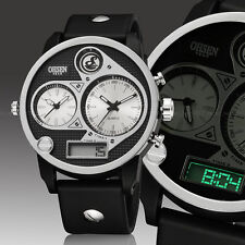 OHSEN Military Army Sport Dual Time Zone Analog Digital Mens Watch Quartz White
