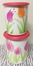 Tupperware One Touch Canister Set Of Two Tulips w/ Coral Seals 13 & 18 Cups New