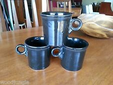 3 HOMER LAUGHLIN FIESTA WARE COFFEE MUGS BLACK Vintage  FIESTAWARE Vintage retro