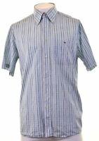 LACOSTE Mens Shirt Short Sleeve Size 44 XL Blue Striped Cotton  A306