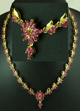 FASHION JEWELRY GEMS 14K YELLOW GOLD RED RUBY Girl lady Beauty NECKLACE Q731