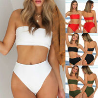 Women Bandeau Bikini Set High Waisted Bottom Push up Top Bra Swimsuit Swimwear