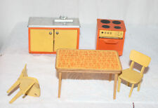 Vintage Lundby Dollhouse Orange Kitchen Table Chair Stove and Sink
