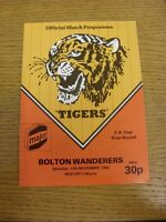 17/11/1984 Hull City v Bolton Wanderers [FA Cup] (team changes). Footy Progs (ak