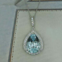 3Ct Pear Cut Aquamarine Halo Pendant Necklace In Solid 14k White Gold Over