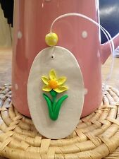 Beautiful Handmade Clay Decoration/gift Tag Daffodil Design NEW