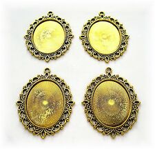 4 Antiqued Goldtone VERSAILLES 40mm x 30mm CAMEO Costume PENDANTS Frame Setting