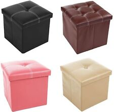 Faux Leather Ottoman Pouffe Toy Storage Box Home Office Stool Guest Spare Seat