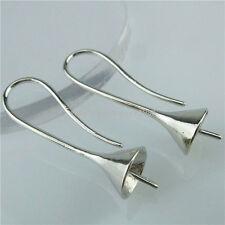 13827 5Pair Copper Silver Findings Pinch Bail Earring Hook Wire Jewelry Making