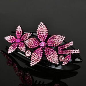 Rhinestone Flower Hair Clip Women Crystal Beads Hair Claws Hairpins Barrette US