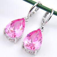 Water Drop Style Natural Pink Fire Topaz Gemstone Silver Danlge Hook Earrings