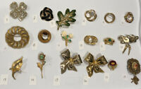 PICK A BROOCH PIN- VINTAGE -NOW- FLOWERS CROWNS MASK BOW GOLD TONE ETC Bn56