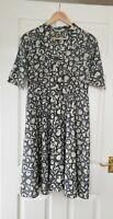 Laura Ashley UK 12 Silk Blend Dress Grey Swirl Pattern Half Sleeve 50's Style