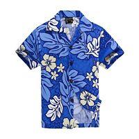 Men Tropical Hawaiian Aloha Shirt Cruise Luau Beach Party Blue Cream Leaf Floral