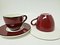 Vintage Italian Espresso Demitasse Cups and Saucers (2) Maroon, Blue, White