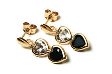 9ct Gold Sapphire and CZ Double Heart drop Earrings Gift Boxed Made in UK