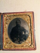 Civil War Bearded Soldier Sixth Plate Tintype wi/ original paper & wood case