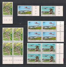 LUXEMBOURG COMPLETE SET SCOTT #663 - 665 MNH BLOCKS OF 4 + 1  W/ TABS AIRPLANES