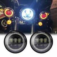 2X 4.5 inch Round LED Fog Lights Red Demon Eyes Amber Halo For Yamaha Motorcycle