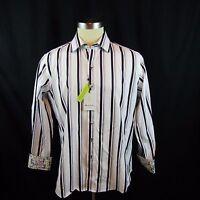New Robert Graham Mens Long Sleeve Dress Shirt XL White Black Stripes