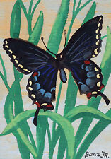 "Burling Boaz ""Butterfly Study I"" 6.5""x4.5"" Watercolor on Paper; Indiana Art"