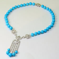 """Sleeping Beauty Turquoise 16.5"""" necklace 14k Solid White Gold Diamond"""