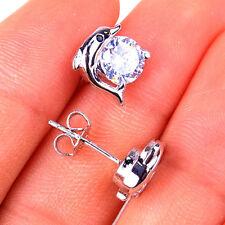 925 Sterling Silver Dolphin +  Diamond-Cut Crystal Stud Earring Jewelry H1043