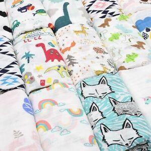 Muslin Baby Cotton Blanket Infant Soft Towel Sleeping Dinosaur Unicorn Patterns