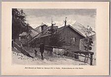 Bad Gastein - Gasthof zur schwarzen Liesl - (Bismarck) Holzstich von 1886