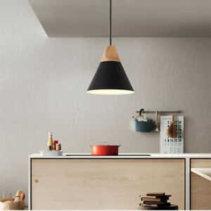 Black Pendant Light Modern Ceiling Lamp Home Wood Pendant Lighting Kitchen Light