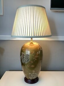 Table Lamp - Ursula Rich Gold Floral Design Cream Shade - VERY Large / Heavy