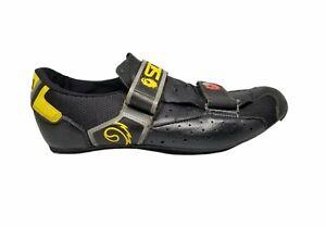 SIDI ROAD BIKE CYCLING SHOES EURO 44 US 9.5 / 10 BLACK YELLOW LEATHER ITALY