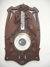 ANTIQUE BLACK FOREST HUNT THEMED BAROMETER THERMOMETER of RARE DESIGN and ORIGIN
