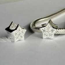STAR w. CZ - Christmas- European charm bead - Genuine Solid 925 sterling silver