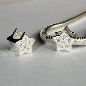 STAR w. CZ - Christmas- European charm bead - Genuine Solid 925 sterling silver