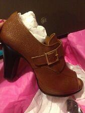 $388 Anthropologie Chie Mihara Cocodrilo Peep Toe Pump Heel Ankle Boot 39 9 8.5