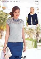 Ladies Cardigan & Top in Sirdar Cotton 4 Ply Yarn Knitting Pattern 7307